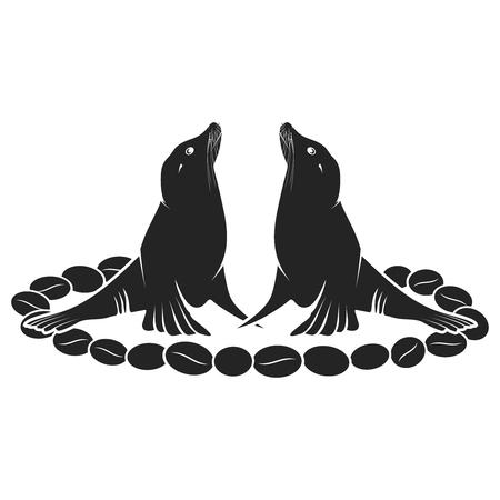 chicchi di caff�: Sea Lion Incontri su chicchi di caff� Vettoriali
