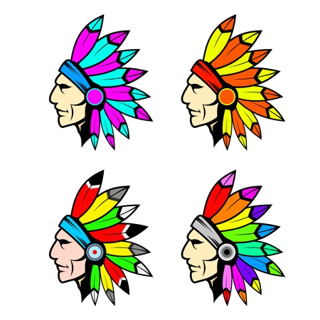 indian chief mascot: Colorful Chieftain