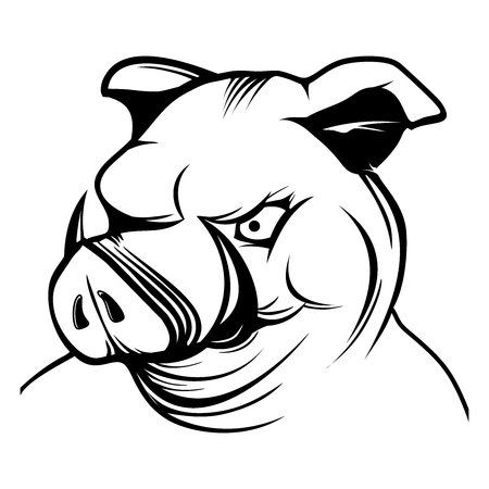 Karikaturtiere Eingestellt Sechs Lustige Rosa Schweine Mit