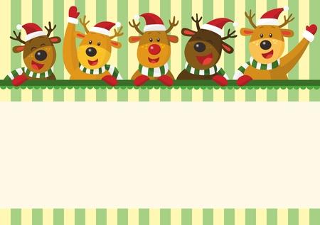 estrella caricatura: Tarjeta de Navidad de los alces