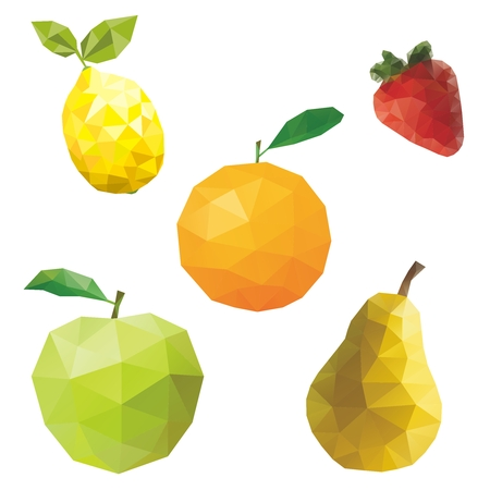 幾何学的なフルーツ  イラスト・ベクター素材