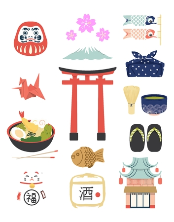 japanese sake: Icono tradicional japonesa Vectores