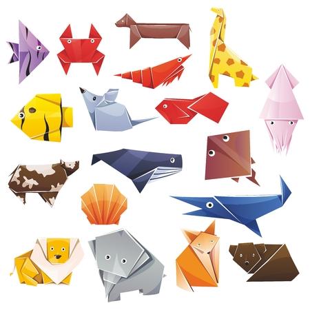 動物の折り紙  イラスト・ベクター素材