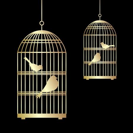 jail bird: Golden bird cage