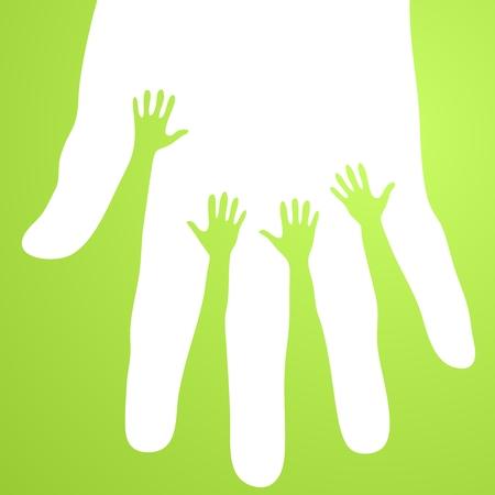 welfare: Volunteer hands vector Illustration