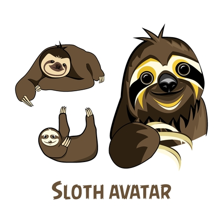 Vector Cartoon Sloth Illustration