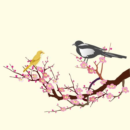 Vector Songbirds sitting on tree branch 向量圖像