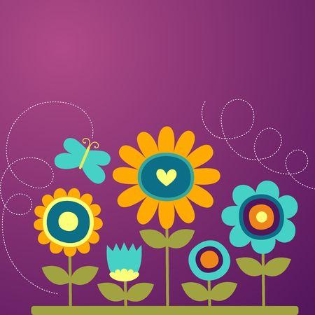 girasol: Vector Flor de dibujos animados de fondo