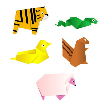 snake origami: Vector animal origami collection