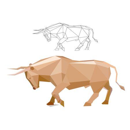 vector skull danger sign: Vector polygon charging bull