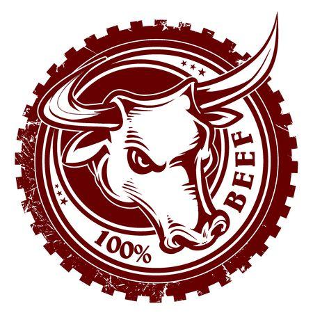 レトロな雄牛の頭部のベクトルのロゴ  イラスト・ベクター素材
