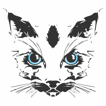 Vector cat head with glowing blue eyes