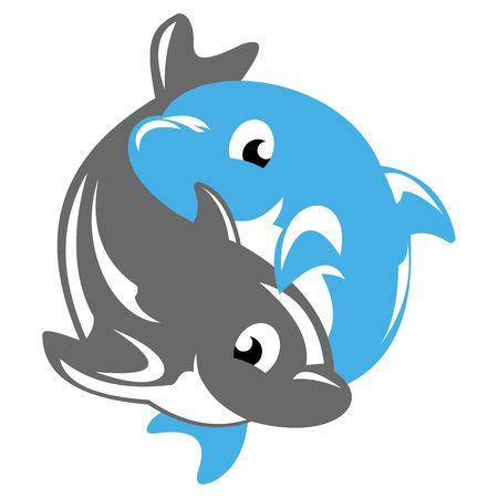 Vector 3D Yin Yang cartoon dolphin