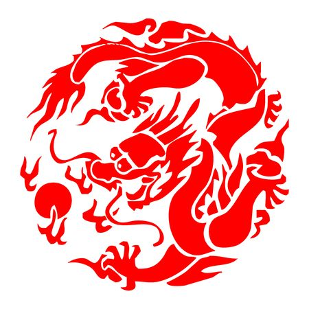 Vector Chinese Dragon Paper cutting Vectores