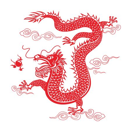 Vector Chinese Dragon Paper cutting Ilustrace