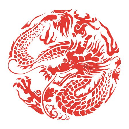 Vector Chinese Dragon Paper cutting Çizim