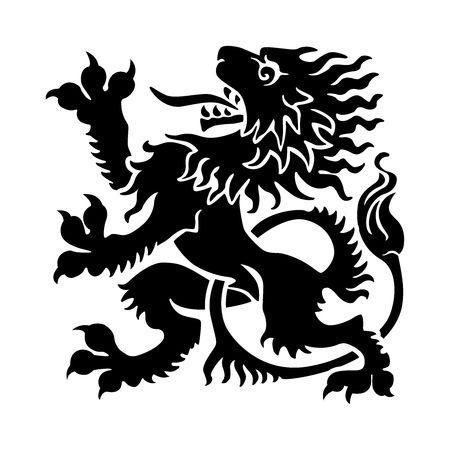 gaita: Vector silueta de León Rampante Vectores
