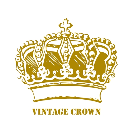Vector Vintage Crown Drawing