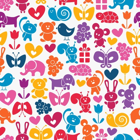 wrapping animal: Vector seamless cartoon animal wrapping pattern Illustration