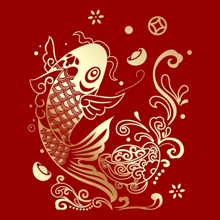 Vector Chinese fortune fish jumping out of water Çizim
