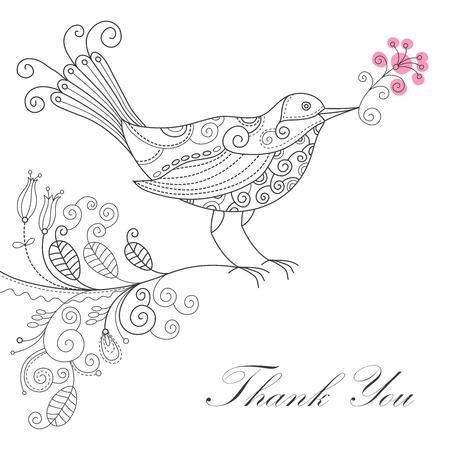 black branch: Vector grateful line drawing bird