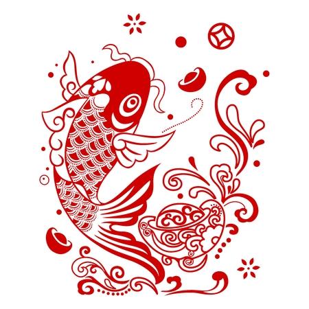 Vector de los pescados de fortuna china saltando fuera del agua Vectores