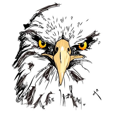 Eagle Head eenvoudige potloodschets Stock Illustratie