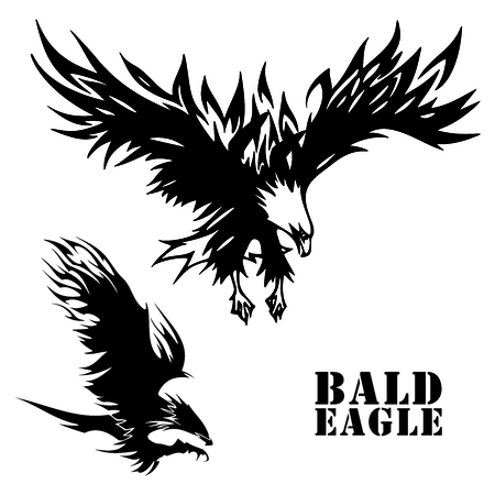 Vector Eagle tattoo sketch Illustration