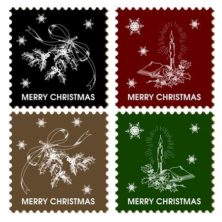 timbre postal: Postales de Navidad Stamp Collection Ilustración