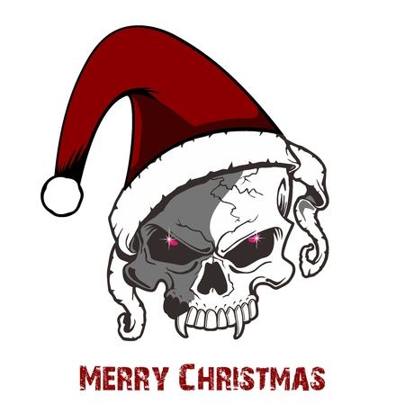 death cap: Skull wearing christmas hat for merry christmas Illustration