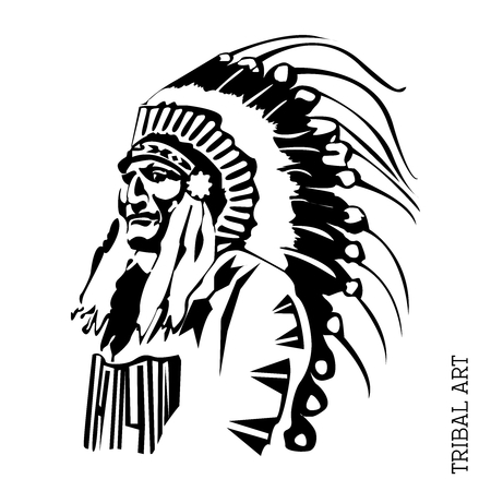 cherokee: Vector Black  White Chief Illustration