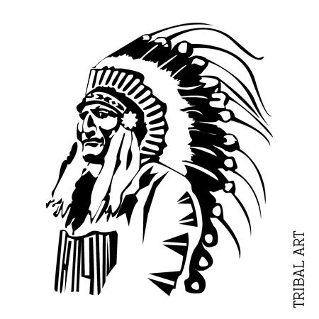chieftain: Vector Black  White Chief Illustration