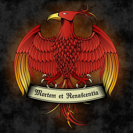 Vector Full Color Phoenix Emblem with Ribbon on Dark background Illustration