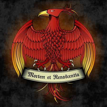 magick: Vector Full Color Phoenix Emblem with Ribbon on Dark background Illustration
