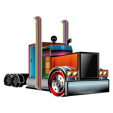 big truck: Vector Abstract Creative Tribal Big Truck Tattoo Illustration