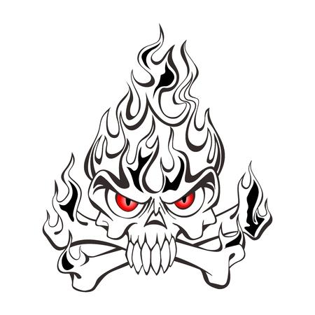 Vector Black and White Tribal Skull on fire tattoo illustration