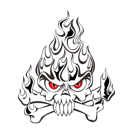 Vector Black and White Tribal Skull on fire tattoo illustration