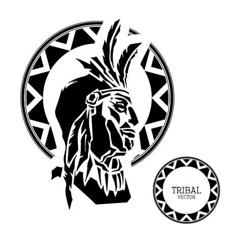 warrior tribal tattoo: Vector Black  White Chief with tribal pattern