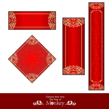 Vector Chinese New Year Red Banner Template Collections  イラスト・ベクター素材