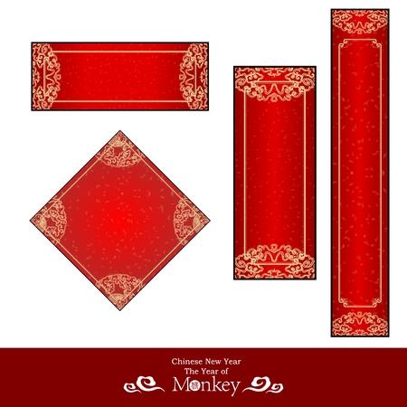 schriftrolle: Vector Chinese New Year Red Banner Vorlage Kollektionen