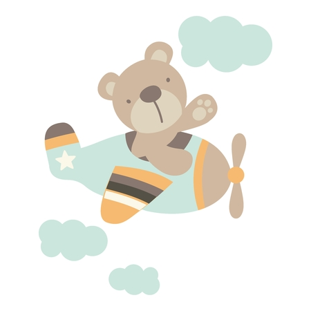 navigating: Vector Bear navigating Aeroplane Illustration Illustration