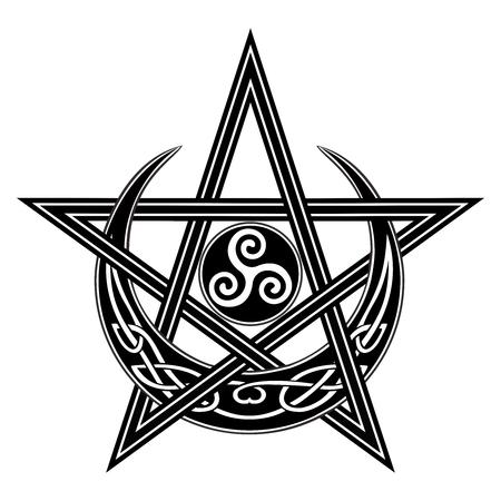 Vector Celtic Moon, Star, Triple Spiral symbol