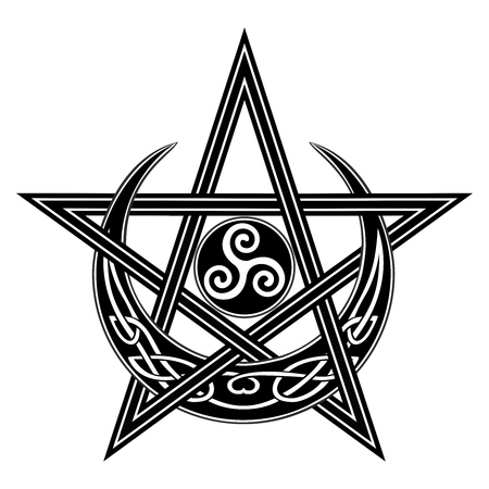 Vector Celtic Moon, Star, Triple Spiral symbol