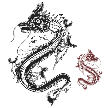 spring in japan: Vector stylish black and white chinese dragon tattoo