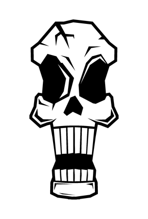 terrify: Vector Black  White Cartoon Screaming, Shocked Skull Tattoo