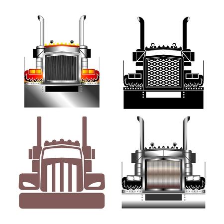 remolque: ilustración vectorial Big Truck rejilla delantera Vectores