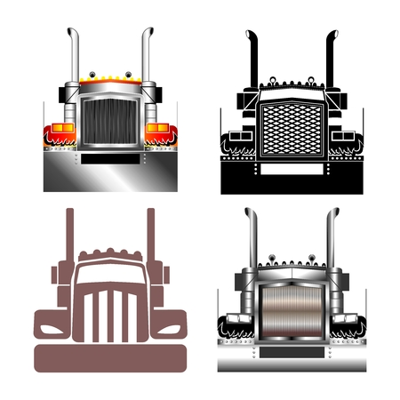 white truck: Vector Big Truck Grill Front illustration