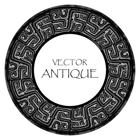 rune: Vector Antique Stone Carving, Inscription Border, Round