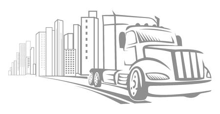 big truck: Vector Big Truck Doodle Driving Away From City