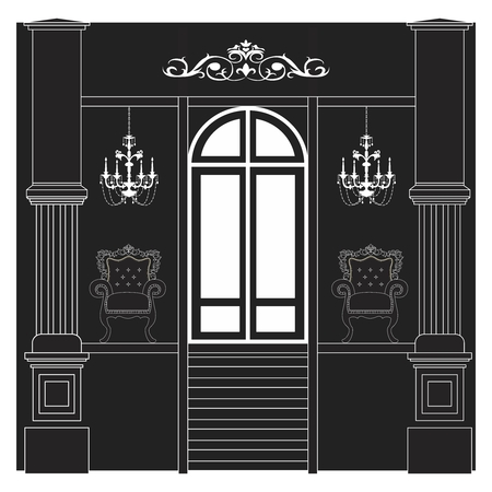 interiors: Vector Black  White Luxury House Interiors Illustration